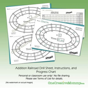 Addition Railroad Math Drill Kit