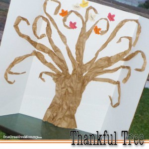 Our Thankful Tree--A new family tradition {Not an artist? You can do this! The simple tree is made from free packing material!}