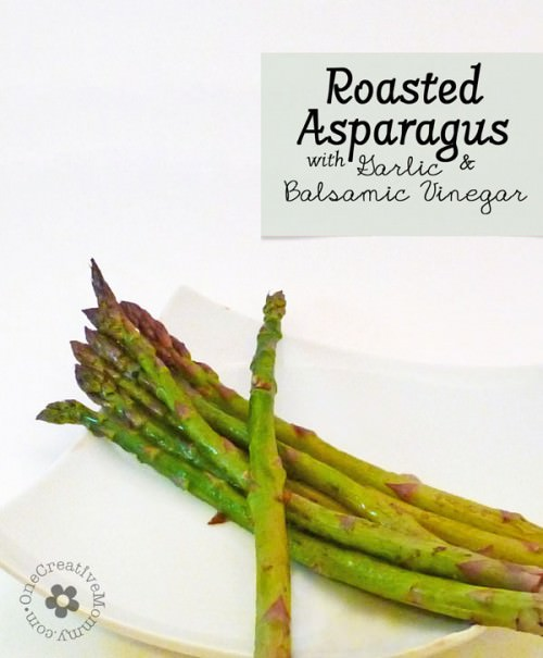 Roasted Asparagus with Garlic and Balsamic Vinegar from OneCreativeMommy.com {Sweet and Tangy--Yum!}