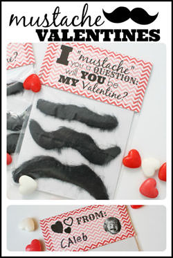 Mustache Valentines from I Can Teach My Child {Valentine Roundup on OneCreativeMommy.com}