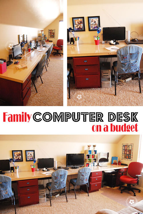 Build a Family Computer Desk on a Budget! {I made mine almost completely with second hand materials} OneCreativeMommy.com