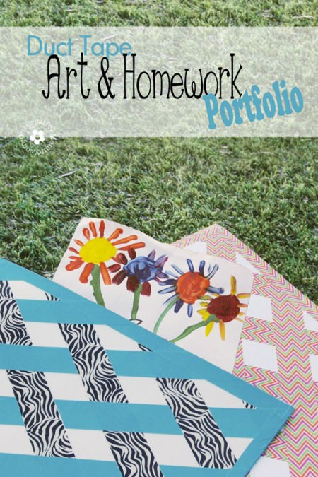 Tame your kids art and homework with a Duck Tape Art Portfolio! {Kids' Project} OneCreativeMommy.com