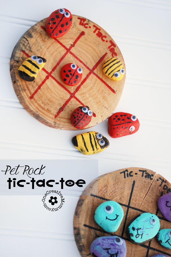 Bust the summer boredom blues with Pet Rock Tic-Tac-Toe! {OneCreativeMommy.com} Paint and Play!