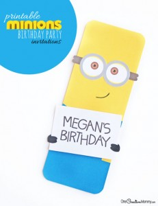 Cute Minion Party Invitations | Choose Free Silhouette Cutting Files or Free Printable {OneCreativeMommy.com} Love these!